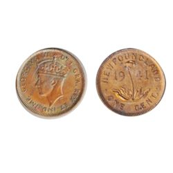 1941-C. Mint State-64. Red. 85% remaining red luster.
