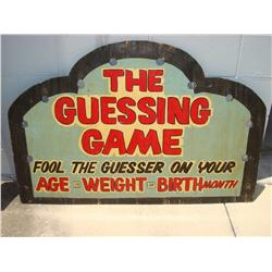 Early & Rare Carnival Folk Art Guess Your Weight & Age Wooden Sign