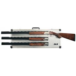 Engraved SKB Model 785 Three Gauge Skeet Barrel Set Over/Under Shotgun with Case
