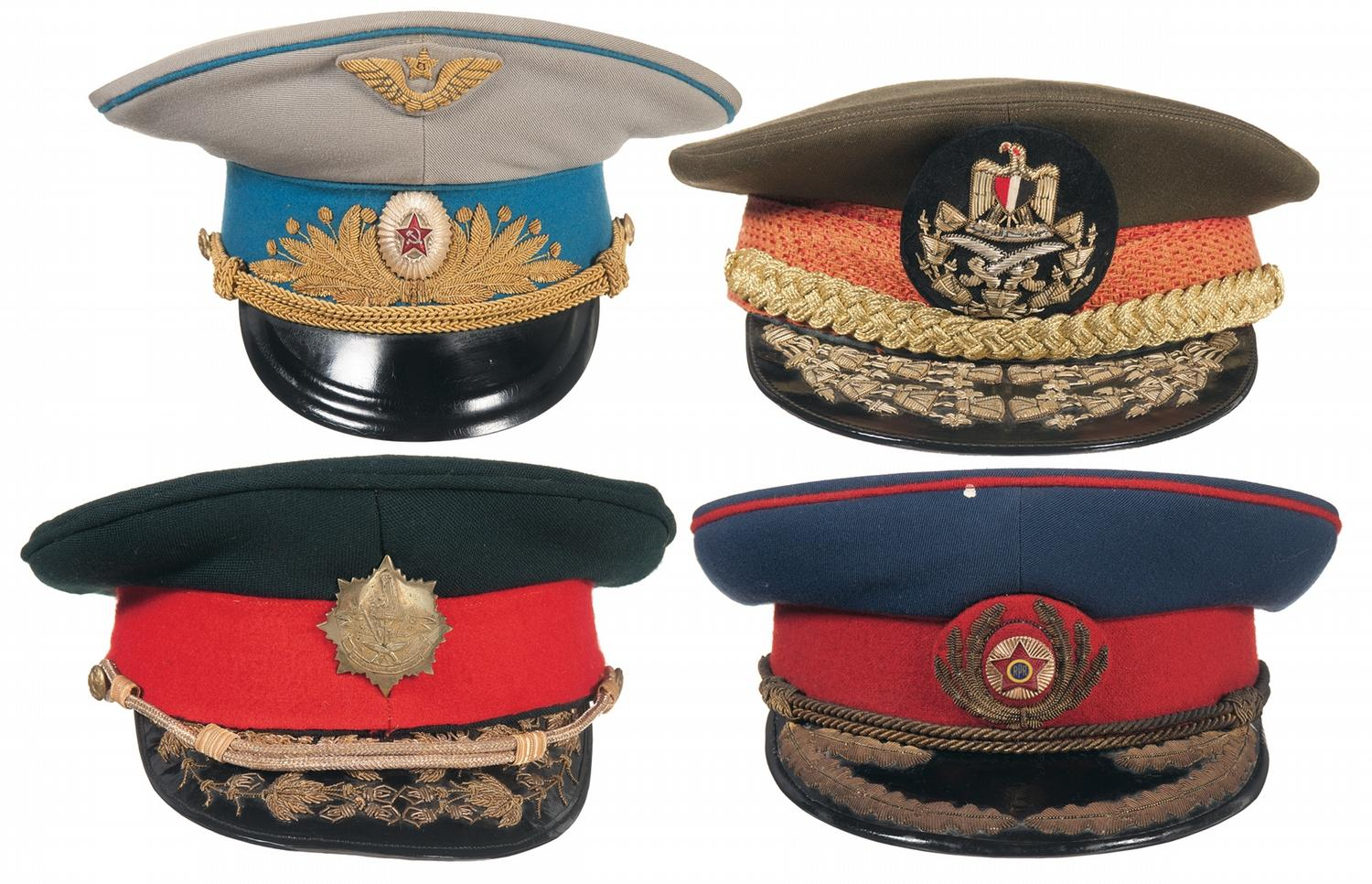 Four Foreign General s Military Visor Caps. Loading zoom 400a8338133