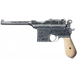 Custom Engraved Astra Model 900 Broomhandle Pistol with Ivory Grips