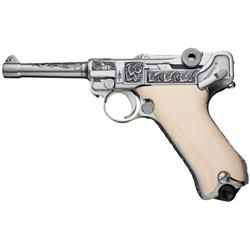 Custom Engraved Erfurt Luger with Ivory Grips