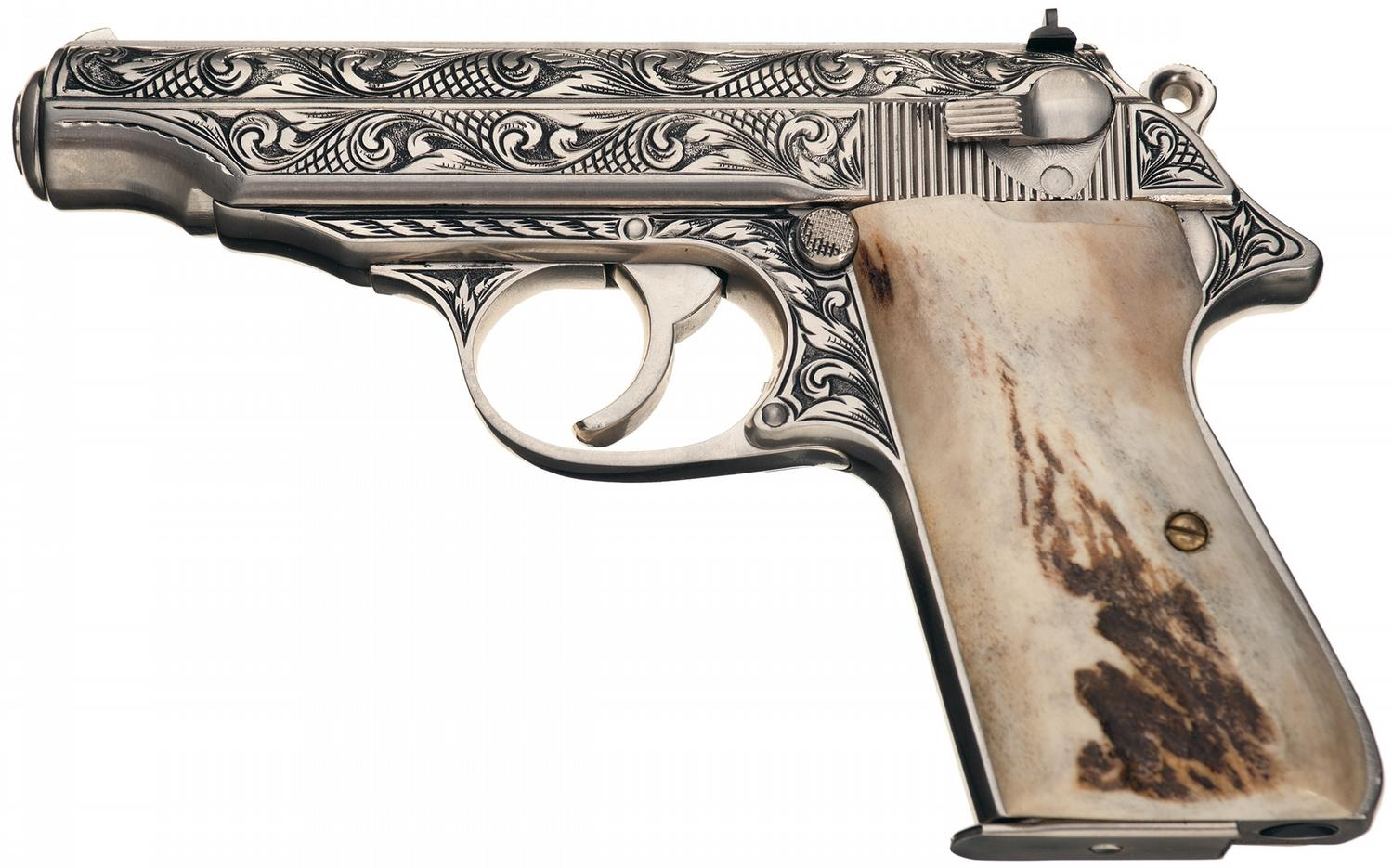 signed custom engraved walther pp semiautomatic pistol