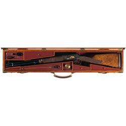 Spectacular Cased Alvin White Engraved Gold and Silver Inlaid Winchester Big Bore Model 94XTR Lever