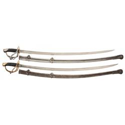1840 Pattern Heavy Cavalry Saber with Scabbard and Unmarked 1840 Pattern Saber with Iron Guard