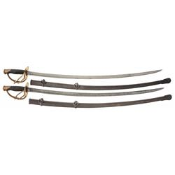 Two 1860 Model Light Cavalry Sabers with Scabbards