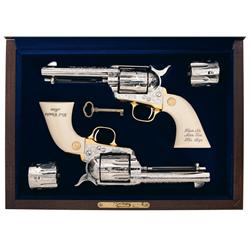 Cased Engraved Consecutively Serial Numbered Matched Pair of Colt Frontier Six Shooter Single Action