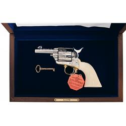Cased Jan Gwinnell Signed Master Engraved Colt Sheriff's Model Single Action Army Revolver with Orig