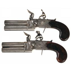 Pair of Engraved English Style Screw Barrel Tap Action Flintlock Pistols