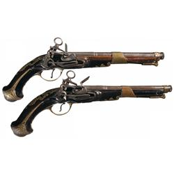 Pair of Cominazzo Miquelet Flintlock Pistols