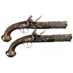 Elaborate Pair of Turkish Flintlock Holster Pistols with Gold Inlaid Accents and Wire Inlaid Stock