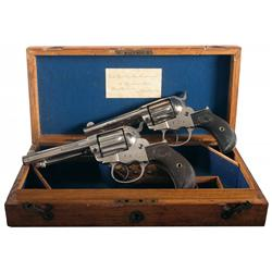 Cased Pair of Retailer Marked London Colt Model 1877 Lightning Double Action Revolvers with Factory