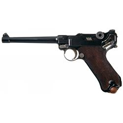 Luger Navy Model http://www.icollector.com/Scarce-DWM-Model-1923-Commercial-Navy-Model-Luger-Pistol_i10496645