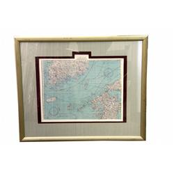 WW2 SILK FLYERS MAP FRAMED NAGASAKI JAPAN