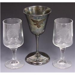 2 WWII GERMAN LUFTWAFFE CORDIAL GLASSES 800 SILVER