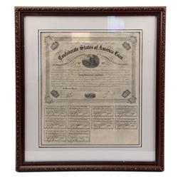CONFEDERATE STATES UNCUT BOND SHEET 1861
