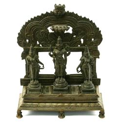 INDIAN BRONZE HINDU DIETY FIGURINES WITH STAND