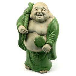LAUGHING BUDAI IN GLAZED & BISQUE PORCELAIN