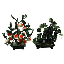 PAIR OF CHINESE CARVED JADE & HARDSTONE PLANTS