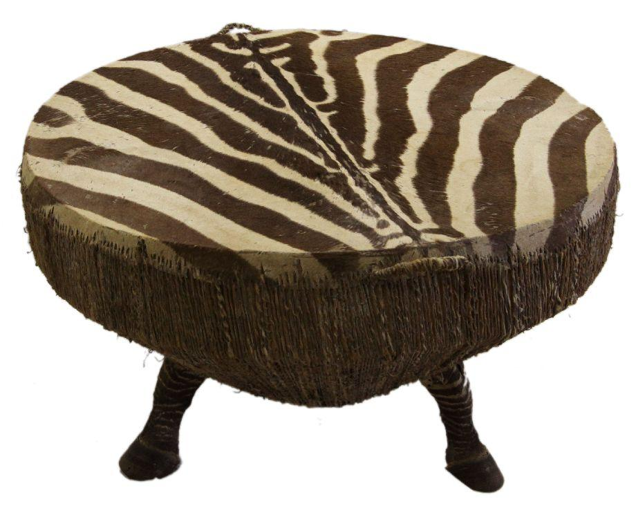 LARGE AFRICAN ZEBRA HIDE DRUM W/ HOOF SUPPORTS. Loading Zoom
