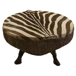 LARGE AFRICAN ZEBRA HIDE DRUM W/ HOOF SUPPORTS