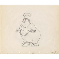 Original production drawing of Oliver Hardy from Mother Goose Goes Hollywood