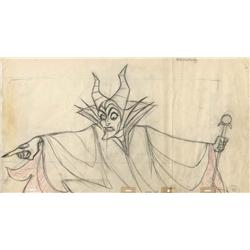 Original panoramic drawing of Maleficent by Marc Davis from Sleeping Beauty