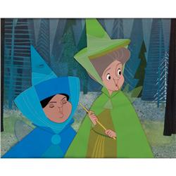 Original production cels of Fauna and Merryweather from Sleeping Beauty