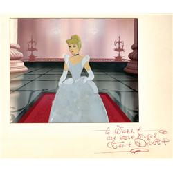 Cinderella original production cel and production background from Cinderella signed by Walt Disney