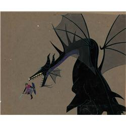 Original production cel of Prince Phillip fighting Maleficent as the Dragon from Sleeping Beauty