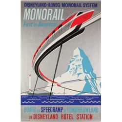 Disneyland Tomorrowland Monorail attraction poster 1959