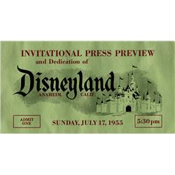 Disneyland Opening Day Pass and invitation letter