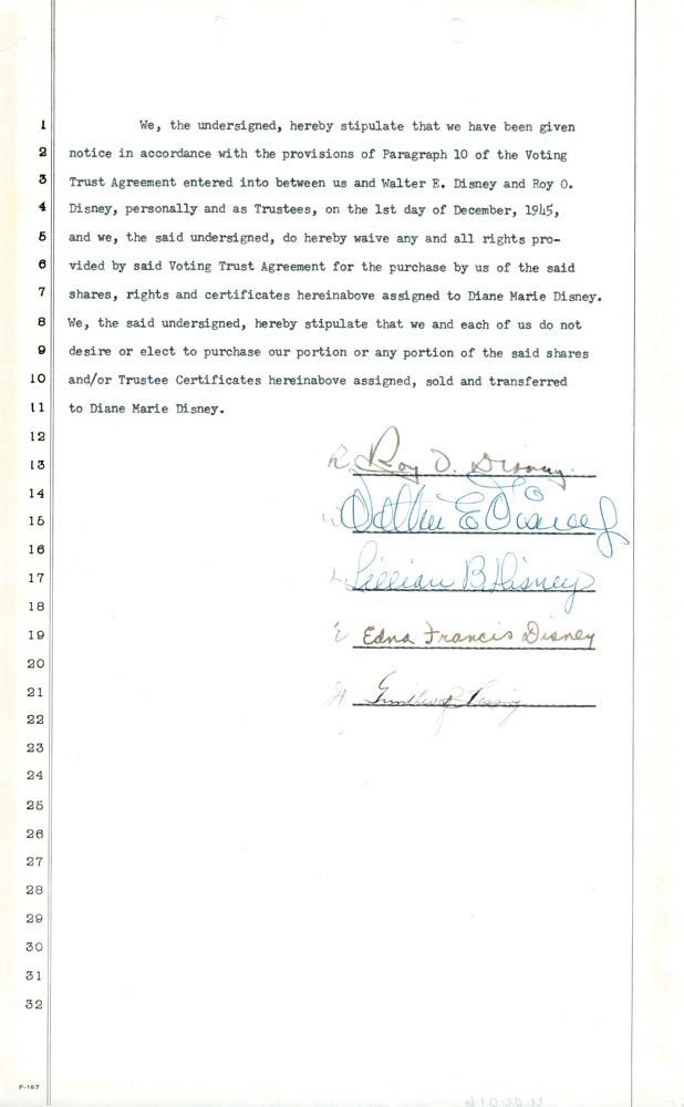 Walt Disney Roy Disney And Wives Signed Agreement