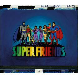 Super Friends main title final scene production cel and background