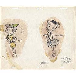 The Flintstones model drawings with Wilma and Betty in costumes signed by Dick Bickenbach