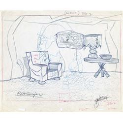 The Flintstones layout drawing with Wilma and Pebbles signed by Bob Singer and Dick Bickenbach