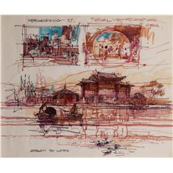 Herbert Ryman concept drawing of World Showcase China Pavilion at Epcot Center