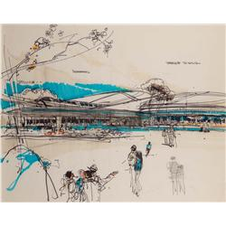 Herbert Ryman concept drawing for terrace dining at Epcot Center