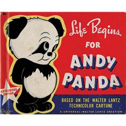 Walter Lantz sgnd Andy Panda bk, photos of Lantz w/ 1st panda in U.S. at Chicago Zoo & othr ephemera