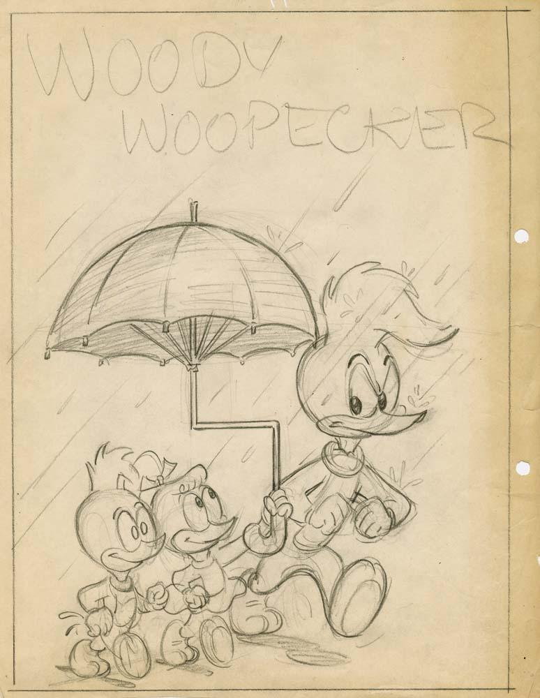 Drawing A Book Cover : Original production drawing of woody woodpecker for comic