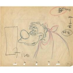 Original production drawing of Br'er Bear from Song of the South