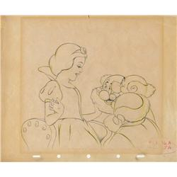 Snow White and Dwarfs original production layout drawing from Snow White and the Seven Dwarfs