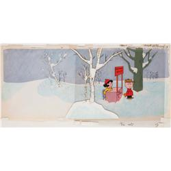 Key matching cels and production background from A Charlie Brown Christmas