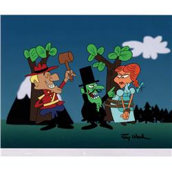 Dudley Do-Right, Snidely Whiplash and Nell Fenwick hand-painted scene cel signed by Jay Ward