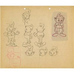 Columbia Studios original production model sheet of elf and production cel of chicken