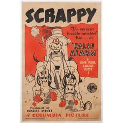 "False Alarm 1933 one-sheet poster for ""Scrappy"" animated-short"