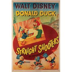 Straight Shooters original US one-sheet poster for Donald Duck cartoon