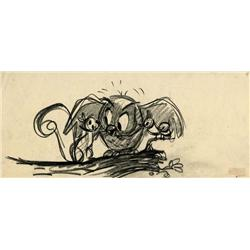 Sleeping Beauty storyboard drawing of Owl and animals