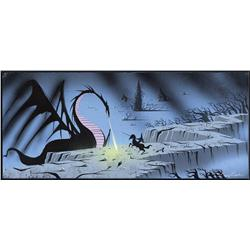 Sleeping Beauty Eyvind Earle concept artwork of Prince Philip battling Maleficent as the Dragon
