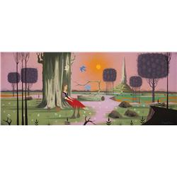 Eyvind Earle original concept painting for Sleeping Beauty